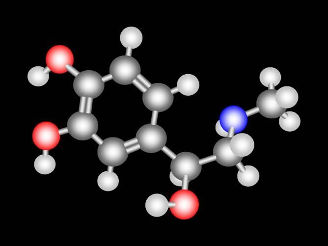 Adrenalin molekula térbeli modellje